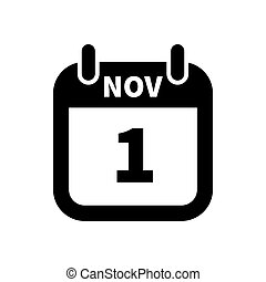 Simple black calendar icon with 1 november date isolated on...