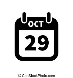 Simple black calendar icon with 29 october date isolated on white