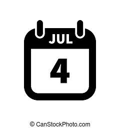 Simple black calendar icon with 4 july date isolated on white