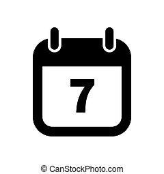 Simple black calendar icon with 7 date isolated on white -...