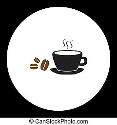 simple black coffee cup and coffee beans icon eps10