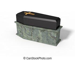 simple black coffin on marble platform,