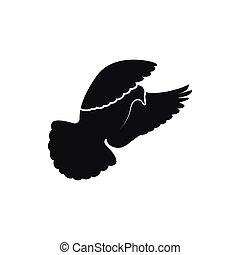 Simple black dove or pigeon symbol