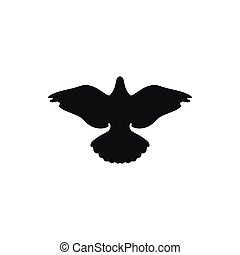 Simple black dove pigeon silhouette icon grove up