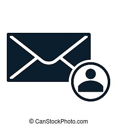 envelope icon flat black closed contact round