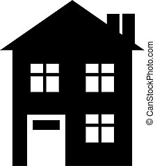 house icon - Simple black house icon isolated on white.