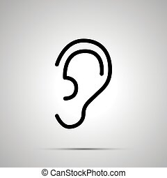Simple black human ear icon with with shadow on gray
