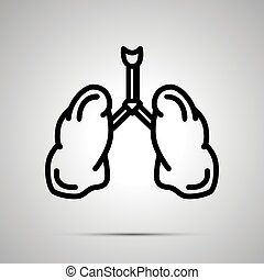 Simple black human lungs icon with with shadow