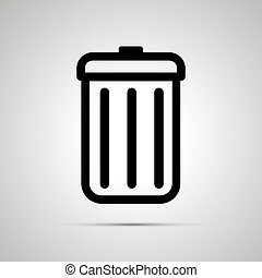 Simple black icon of trash can on light background