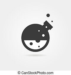 simple black lab icon with shadow. concept of creativity,...