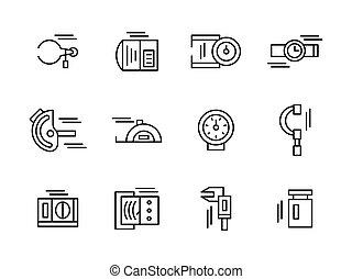 Simple black line metrology tools vector icons set