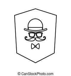 hat glasses mustache bowtie icon