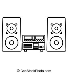 stereo system icon - simple black line stereo system icon...