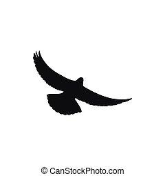 Simple black one dove symbol. Wingspan is pigeon
