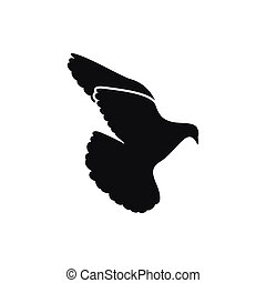 Simple black one single peace dove pigeon icon