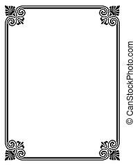 simple black ornamental decorative frame - Vector simple...