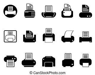 simple black printer icons set on white background