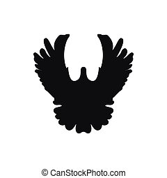 Simple black single one pigeon silhouette