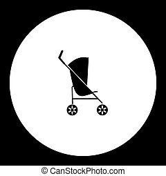 simple black sport stroller for baby cradle icon eps10