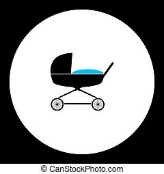 simple black stroller for baby cradle icon eps10