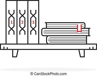simple black thin line book shelf on white