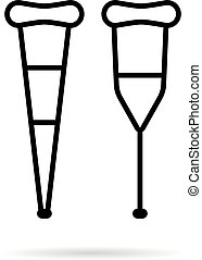 simple black thin line crutch icon. concept of prosthesis, ...