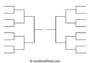 Simple black tournament bracket template for 16 teams on white