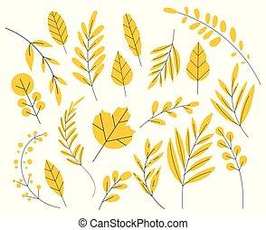 simple, blanc, arrière-plan., ensemble, style., isolé, flat., feuille jaune, automne, plat, feuilles