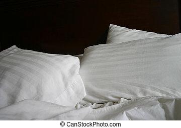 simple, blanc, lit