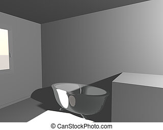 simple, blanche salle, render, bain