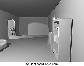 simple, blanche salle, render
