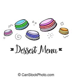 Simple blank of menu with dessert sweets.