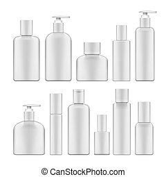 Simple Blank White Plastic Cosmetic Bottles Set