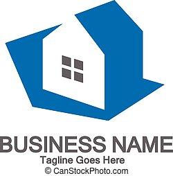 simple, bleu, concept, maison, logo