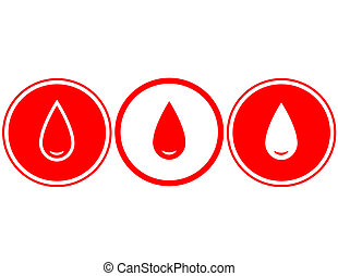 simple red blood drop on white background
