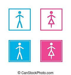 Simple blue and pink wc symbols in empty and full squares isolated on a white background, vector restroom illustration, man and woman icons