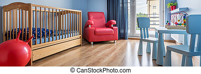 Simple blue baby room