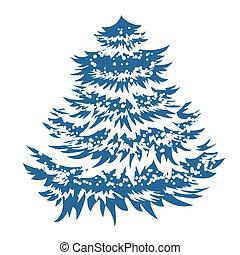 Simple blue Christmas tree isolated