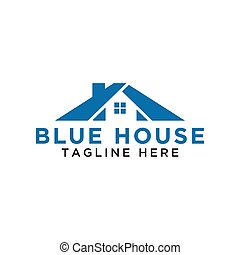 Simple blue house logo design template vector