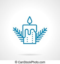 Simple blue line candle vector icon