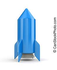 Simple blue rocket on white background