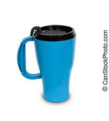 Simple blue thermal mug