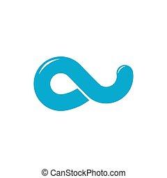 simple blue water waves loop logo vector