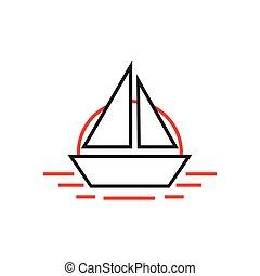 simple boat in the sea line art logo vector