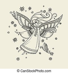 Simple boho style angels fo coloring.