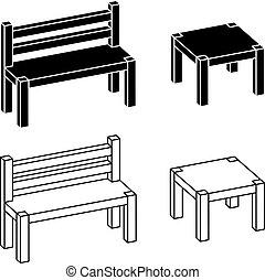 simple, bois, 3d, table, banc