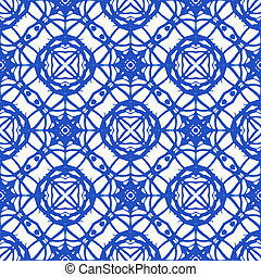 Simple bold geometric ornament in royal blue. Seamless pattern with Mediterranean motifs. Texture for web, print, wallpaper, textile, fabric, wrapping, website or invitation background