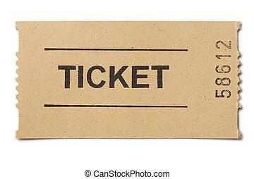 simple, boleto, papel, aislado, blanco