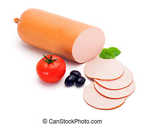 Simple bologna sausage and slices
