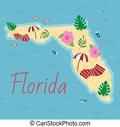 Simple border map on Florida - sothern state on USA. Land with textured background and orange letteringSimple border map on Florida - sothern state on USA. Land with textured background and orange lettering